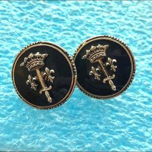vintage crown sword heraldic fleur de lis earrings